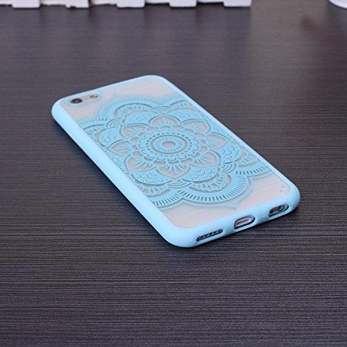 EKINHUI iPhone 5SE 5S Case; Sch¨¹tzende PC harte r¨¹ckseitige Abdeckung Fall mit Druckmuster + TPU Bumper f¨¹r iPhone 5SE, iPhone 5S (Ethnic Tribal Henna-Red) Mandala-Blue