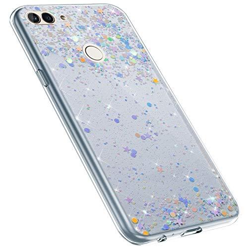MoreChioce kompatibel mit Huawei Enjoy 8 Plus Hülle,kompatibel mit Huawei Enjoy 8 Plus Glitzer Handyhülle,Kreativ Durchsichtig Dot Bling Paillette Strass Silikonhülle Schutzhülle Flexible Bumper - Bling Dots