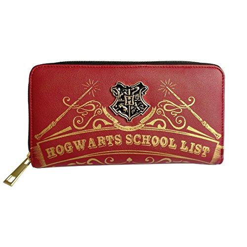Damen Geldbörse Harry Potter Hogwarts Schule rot Kupplung Geldbörse Reißverschluss Geldbörse (Geldbörse Harry Potter)