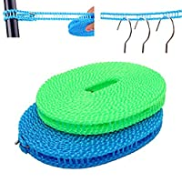 Hemore 2 Pack Clothesline Clothes Drying Rope Portable Travel Clothesline Adjustable for Indoor Outdoor Laundry Clothesline, Perfect Windproof Clothes Line, Hanger for Camping Travel