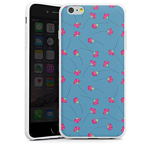 Apple iPhone X Silikon Hülle Case Schutzhülle Blumen Blau Herz Silikon Case weiß
