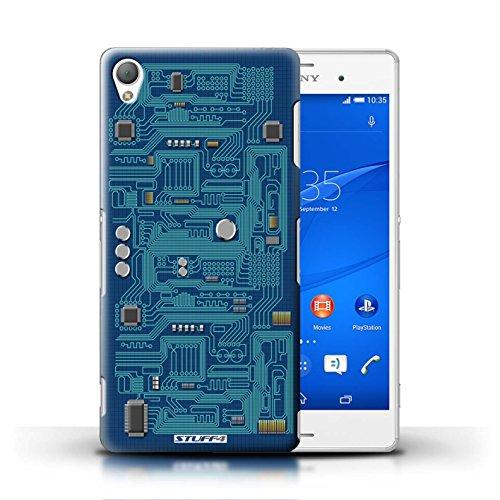 Kobalt® Imprimé Etui / Coque pour Sony Xperia Z3 / Rouge conception / Série Circuit Board Bleu