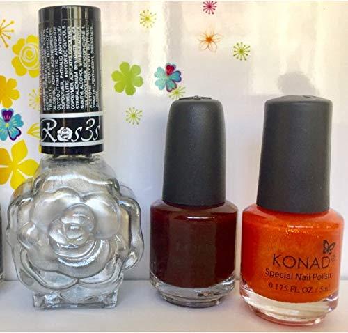 KONAD- Kit de 3 esmaltes para estampar: Naranja