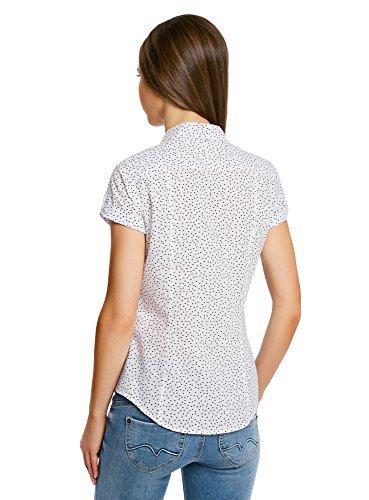 oodji Ultra Femme Chemise en Coton avec Imprimé Blanc (1029D)