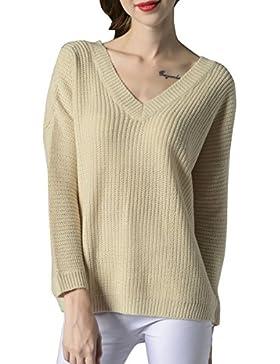 ELLAZHU mujeres de moda cuello en V mangas largas color puro suéter suelto YY51 Beige M