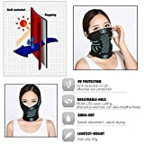 TRELC Windproof Cycling Face Mask Breathable Skull Mask Stretchable Neck Warmer Scarf Ski Headwear Tubular Half Face Cover Magic Headband Veil for Motor Cycling Riding Climbing Snowboard Winter Sports Outdoor Activities(Black+Blue)