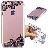 Funda iPhone 6 PLUS silicona transparente Ultra-fino TPU suave Carcasa Bumper DECHYI Patrón arte-fiore del merletto