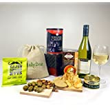 It's Wine O'Clock! White Wine & Nibbles Hamper Box - 'Cos they're a 'Grape' influence!