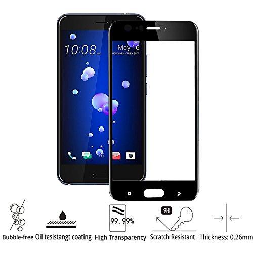 HTC U 11 Pellicola Protettiva, MiSha 3D Full Coverage 9H Durezza Vetro Temperato Anti-Graffio Alta Definizione Ultra Sottile Alta -Trasparente Rivestimento Oleorepellente Fingerprint-Resistente Anti-Bolla No-Lifting Pellicola Protettiva Vetro Temperato per HTC U 11 Nero (Garanzia a vita).