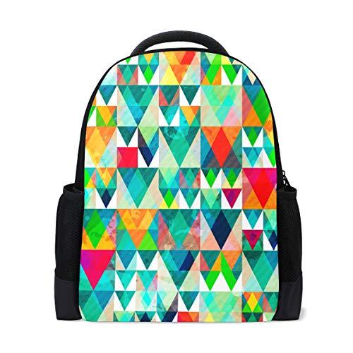 Nahtlose Dreieck (Rucksack-abstraktes Regenbogen-Dreieck-nahtloses Muster Bunter Kunst-Rucksack perfekt für Schulreise-Kindertagesstätte für jugendlich Jungen-Mädchen)