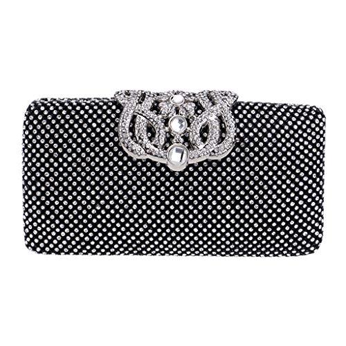 TIFIY Damen Rucksack Frauen Crown Diamond Luxus Kleid Kette Abendtasche Handtasche Schulter Cross Bags Arbeits Täglich Bankett Elegant Tasche(Schwarz)
