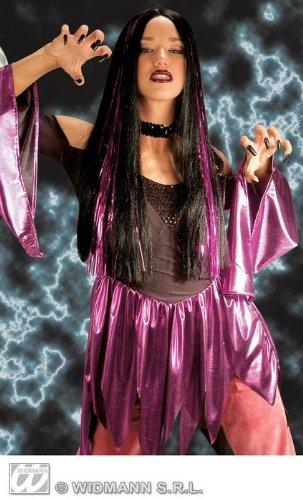 Langhaar-Perücke Halloween schwarz mit violetten Glitter-Strähnen lila Damen Fasching Karneval Kostüm Zubehör Accessoire Hexe (Minute Kostüme Schnelle Halloween Last)