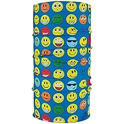 ebos Pañuelo multifuncional✓Braga de cuello| Bufanda multiusos | Bandana | Pañuelo de cuello | Pañuelo de cabeza | versátil e ingenioso | diferentes diseños (Smile azul)