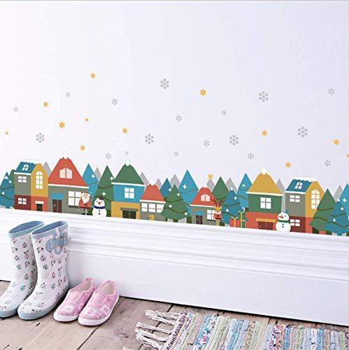 Wandaufkleber Weihnachtsdorf Schneeflocke Wandaufkleber Schaufenster Glas Aufkleber Party Wohnzimmer Dekoration Neujahr Decor Weihnachten Wandbild Poster