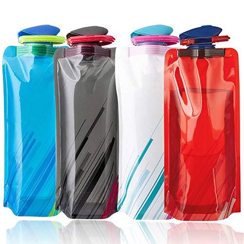 BESTZY 700ML Faltbare Wasserflaschen 4er-Set Trinkflasche Trinkrucksäcke,Flexible zusammenklappbare Wiederverwendbare Wasser Gewicht Tasche für Wandern,Abenteuer,Reisen