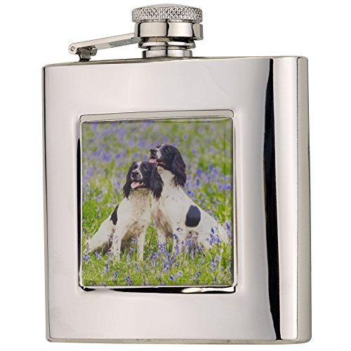 Bisley Hip Flask 6oz captive top Square Spaniels in Presentation Box -