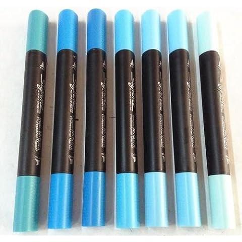 M & G signme alcol doppia punta fine e ampio Pennarelli Verde Blu Disegno Sketch, 7pezzi