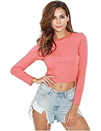 SODIAL(R) autumn Spring pit and slim long sleeved Exposed Navel long sleeved t-shirt female Pullovers(PINK,S/US~4/UK~8)