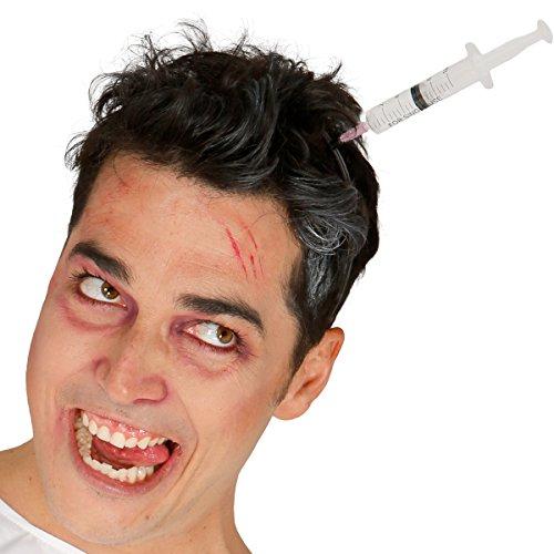 : Spritze im Kopf + 30 ml Kunstblut - Schocker Haarreif (Halloween Spritzen)