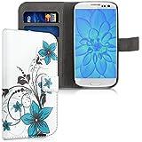 kwmobile Wallet Case Kunstlederhülle für Samsung Galaxy S3 i9300 / S3 Neo i9301 - Cover Flip Tasche in Blumenmuster Design mit Kartenfach und Ständerfunktion in Blau Schwarz Weiß