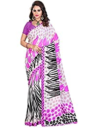 ARAJA FASHION NEW DESIGNER PINK&WHITE COLOR SEMI GEORGETTE PRINTED SAREE WITH BLOUSE PICES