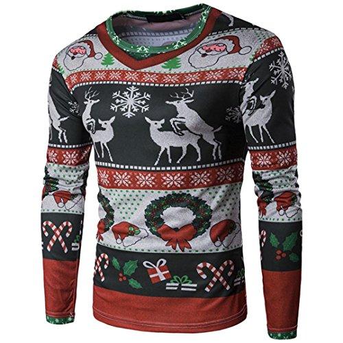 Weihnachten Xmas Drucken Herren Bluse Hemd Pulli Pullover Hemden Langarmshirts Rundkragen Herbst Winter Shirt Männer Sweatshirt Blusen Tops T-shirt Blusentop Elecenty (Schwarz, S)
