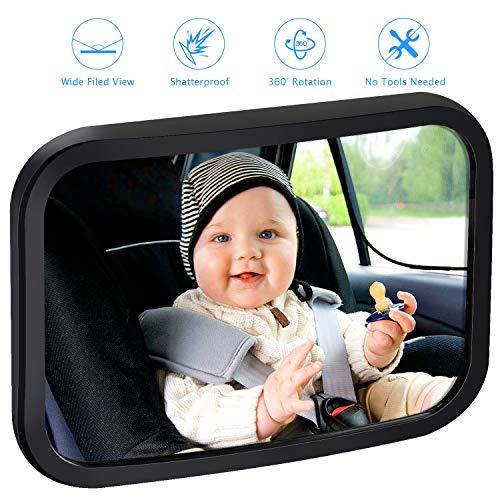 vitutech Rücksitzspiegel für Babys, Spiegel Auto Baby, Bruchsicherer Auto-Rückspiegel für Babyschale 360° schwenkbar für Baby Kinderbeobachtung