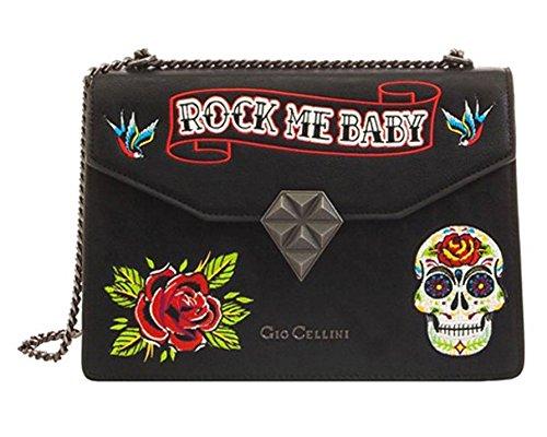 9a6144af04 Borsa a tracolla linea ROCK ME BABY modello Tattoo Gio Cellini Nero ...