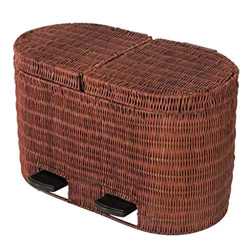 Cubos de Basura para Exterior Botes de Basura de clasificación Rattan Natural Weaving Cubo de Basura...