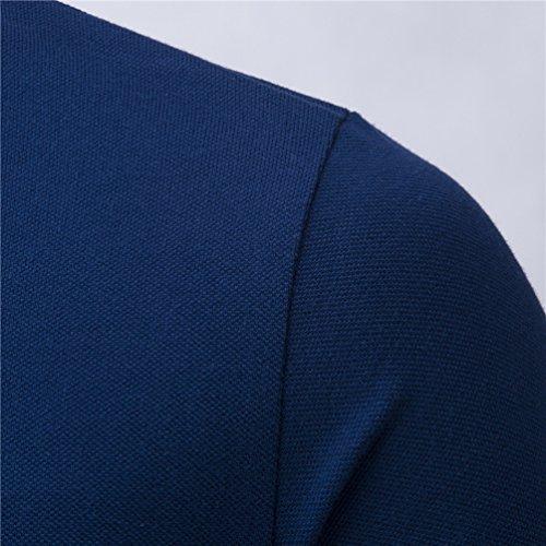 ZhiYuanAN Männer Casual Kurzarm T-Shirt Wild Schlagfarben Nähte Revers Poloshirt Mit Knopfleiste Und Knopfdetails Große Größen Polo Hemd Marine