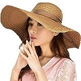 ISABELLE Fashion Capeline Femme Chapeau Eté Pliable de Soleil Large Bord Chapeau Voyage Chapeau de Soleil Capeline Chapeau Melon à Bord Large Beach Hat
