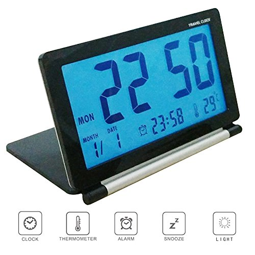 Pingenaneer Folding LCD Display Digital Travel Clock Desk Snooze Alarm Clock with Smart Night Light for Aldults Home Office and Travel