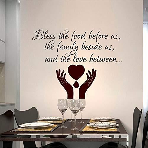 yiyiyaya Bénissez la Nourriture Devant Nous Salle à Manger Sticker Mural Mains Prier Vinyle Art Home Decor Autocollants Auto-adhésifs Autres Couleurs 80x59cm
