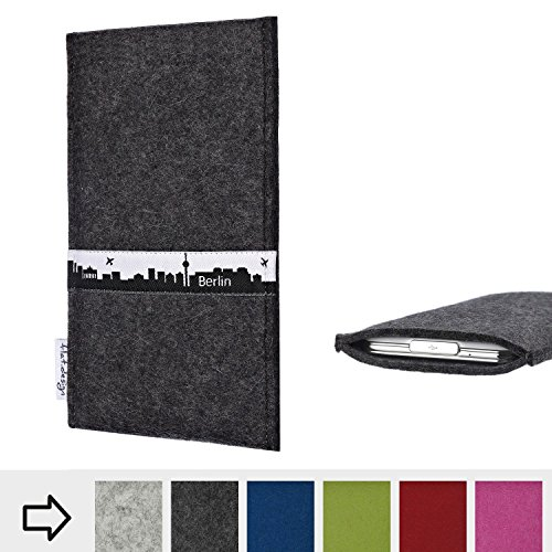 flat.design für Doogee V Schutzhülle Handy Tasche Skyline mit Webband Berlin - Maßanfertigung der Filz Schutztasche Handycase aus 100% Wollfilz (anthrazit) für Doogee V