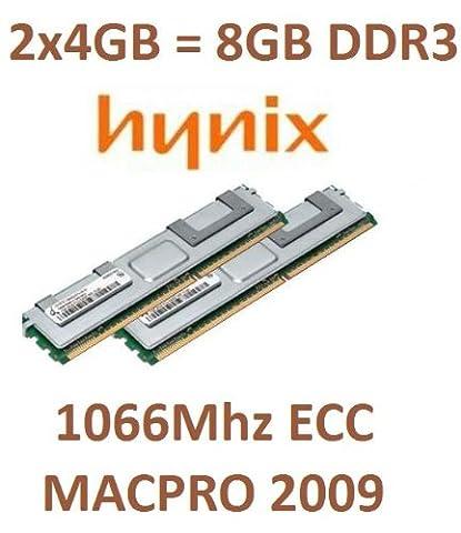 Hynix original 2x 4GB = 8GB Kit 240broches ECC DDR3–1066PC3–8500R 128Mx4x 36double side (hmt151r7bfr4C Systèmes de G7) pour MacPro Nehalem 4,1(Année de construction 2009) avec dissipateur thermique