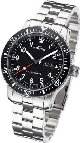 Fortis Official Cosmonauts Automatik Uhr, ETA 2836-2, Schwarz, Stahlband