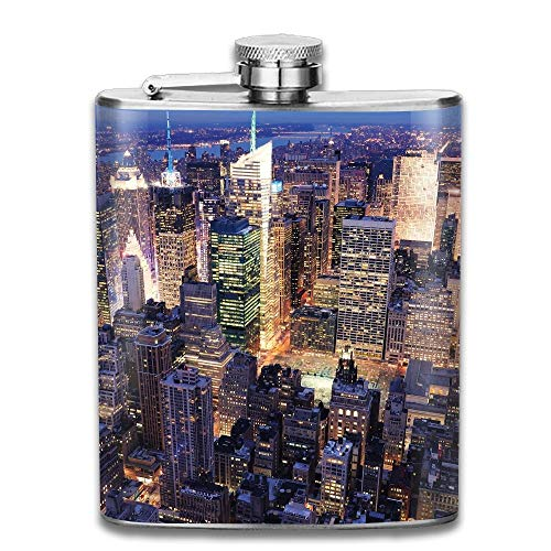 Sdltkhy New York Aerial View of NYC Full of Skyscrapers Manhattan Times Square Famous Cityscape Gift for Men 304 Stainless Steel Flask 7oz
