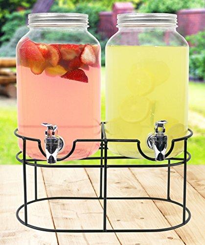 Estilo de Cristal Mason Tarro dispensador de Bebidas de Doble Bebidas en Soporte de Metal con Espiga sin Fugas, 1Gallon