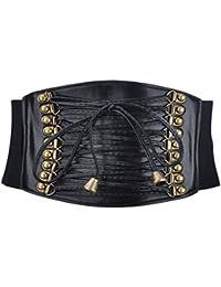 "Retro Style 4"" Wide Elastic Corset Waist Belt - Black"