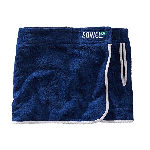 Sowel® Strandrock kurz für Damen, 100% Baumwolle mit Klettverschluss, Seitentasche, mehrere Farben Navy/Blau
