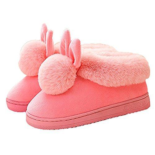 Minetom Inverno Unisex Morbido Caldo Peluche Casa Pantofole Cartone Coniglio Spessore Inferiore Antiscivolo Pattini Donna Uomo Scarpe Slippers A- Rosa