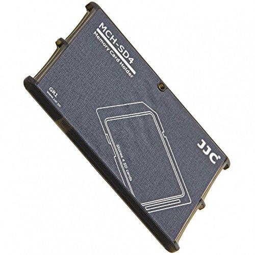 Extrem Kompaktes Speicherkarten Etui Aufbewahrungsbox im Kreditkarten-Format fuer 4x SD SDHC SDXC - grau (Einschub Öse)