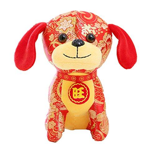Jahr der Hund Maskottchen Wangcai Lunar New Year Welpen Plüschtier Puppe, D5 (Hund Realistische Tiere Ausgestopfte)