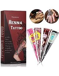 Henna Tattoo Farbe Temporäre Tattoo Natürliche, Henna Creme Körperbemalung Tattoo Creme, Schaffen Sie sich jederzeit Stil, | Temporäre Tattoos | Körperfarben | Tattoo sticker | Henna Design 4x Magenta, Braun, Schwarz, Lila