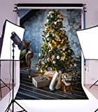 YongFoto 5x7ft Photography Backdrop Christmas Tree Boots Firewoods Gifts Box Sofa Brick Wall