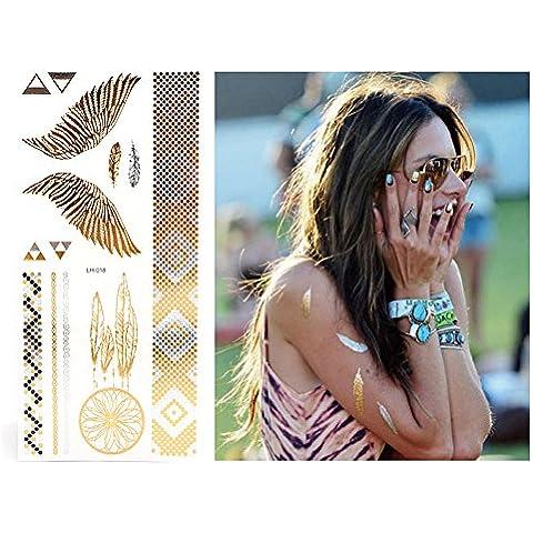 Xcellent Global Tatuajes temporales metalizados 10 Hojas brillantes en oro y la plata para collares, pulseras, Brazalete y Tobillo M-BT012