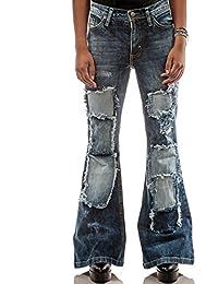 Comycom Damen Jeans Schlaghose mit Flicken Star Oldway