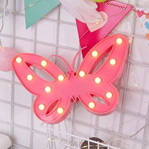 Plastik-Schmetterling von Mamum mit weißer Buchstaben-LED-Beleuchtung zum Aufhängen oder Aufstellen, erhältliche in rot, pink, blau und weiß Einheitsgröße rose