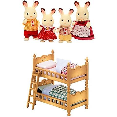 Dos conjuntos de Sylvanian Families–Familia de conejos y doble litera cama