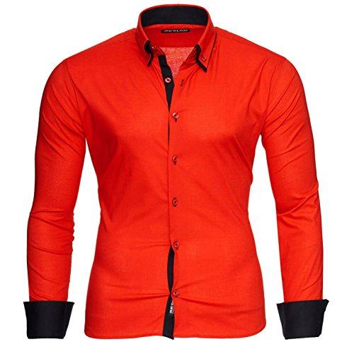 Reslad Männer Hemd bügelleicht Slim Fit Freizeithemden Business Herren Kontrast buntes Langarmhemd RS-7050 Rot Schwarz Gr M